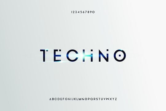 techno Abstract technology futuristic alphabet font. digital space typography vector illustration design