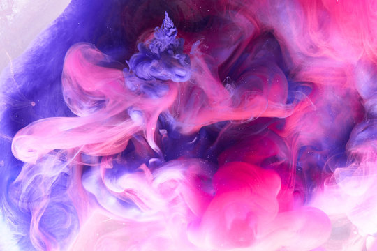 Abstract multicolored swirling fume background. Pink, purple and blue hookah smoke backdrop