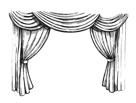 Curtain sketch. Outline with transparent background. Hand drawn illustration converted to vector