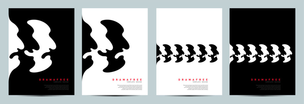 DRAMA FREE CONCEPT DESIGN. Black and White represents good and bad. Book, Magazine, Brochure, Poster ready made design.