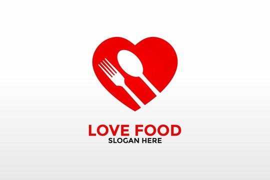 love food logo template, love food logo icon vector isolated