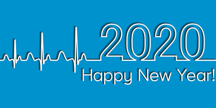 Medical Christmas fitness banner, 2020 happy new year, vector 2020 health medical style wave heartbeat, concept fitness healthy lifestyle