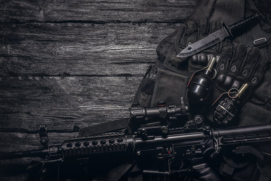 Military equipment or special agent gear concept flat lay background with copy space.