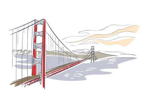 Golden Gate bridge usa America vector sketch city illustration line art