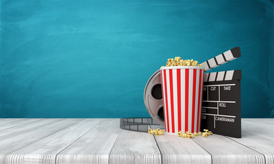 3d rendering of pop corn bucket, film reel, and clapperboard standing on wooden floor near blue wall.
