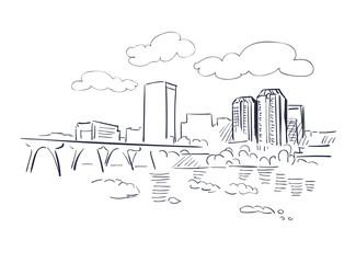 Richmond Virginia usa America vector sketch city illustration line art