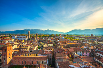 Lucca panoramic aerial view of city and San Martino Cathedral. Tuscany, Italy Fototapete