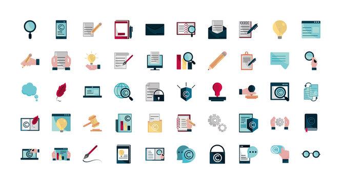 property intellectual copyright icons set