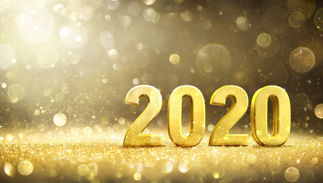 2020 -  New Year Decoration With 3d Golden Number - Contain 3d Rendering