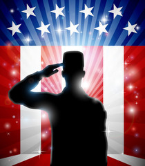 Aluminium Prints Superheroes A patriotic soldier standing saluting in front of an American flag background