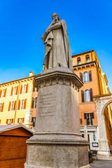 Monument of poet Dante Alighieri in the Piazza dei Signori in Verona, Italy