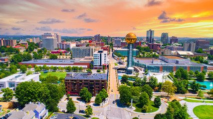 Knoxville, Tennessee, TN Downtown Drone Skyline Aerial Fototapete