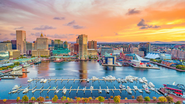 Baltimore Maryland MD Inner Harbor Skyline Aerial