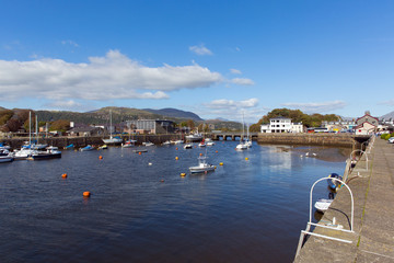 Wall Mural - Porthmadog Wales harbour with boats in Welsh coastal town east of Criccieth near Snowdonia National Park