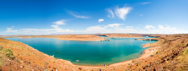 panoramic picture of lake powell in summer