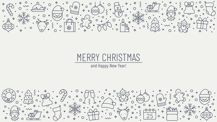 Christmas background with outline icons. Vector greeting banner.