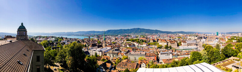 panoramic picture overview of zurich city in summer