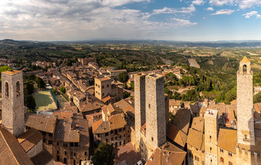 Keuken foto achterwand Cappuccino Summer landscape view over San Gimignano Italy Panorama