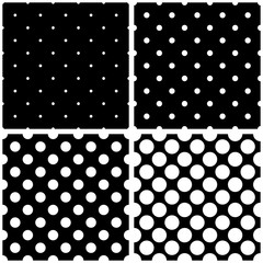 Seamless black and white vector pattern or tile background set with big and small polka dots