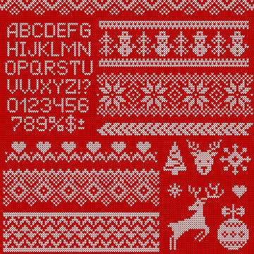 Knitted sweater patterns, elements and letters. Vector set.