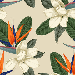 Seamless floral pattern with tropical flowers on light background. Template design for textiles, interior, clothes, wallpaper. Vector illustration.  Botanical art.  Engraving style