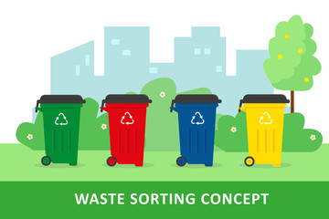 Waste sorting and recycling concept.