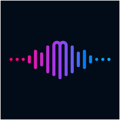 letter M with Pulse music player element. Logo template electronic music, equalizer, store, dj, nightclub, disco. Audio wave logo concept, Multimedia Technology themed, Abstract Shape. - vector