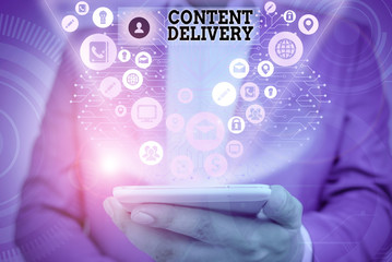 Writing note showing Content Delivery. Business concept for geographically distributed network of proxy servers