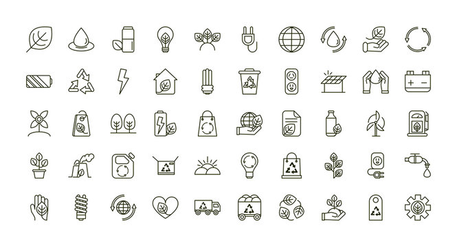 environment ecology icons collection line