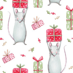 Cute gray mouse or rat 2020. Merry Christmas seamless pattern with watercolor illustration of a baby mice animals with sweet candies, a symbol of 2020 a white background. Winter new year design.