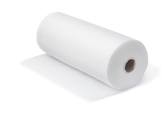 Roll of white disposable nonwoven fabric towels