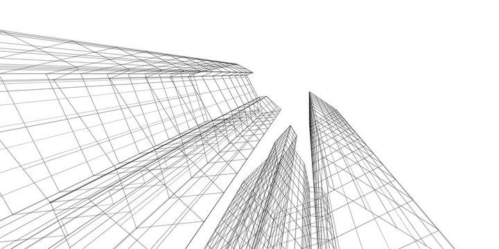 Architecture building 3d. Concept sketch. White backdrop