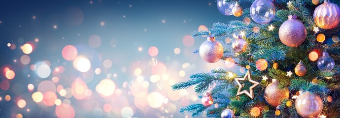 Christmas Tree With Golden Baubles And Shiny Lights In Blue Background Fotobehang
