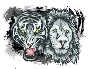 Wall Murals Hand drawn Sketch of animals Embroidery vector colorful pattern set with lion, japanese tiger, leopard.