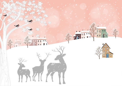 Vector Cute winter landscape with rein deers family standing under the tree, snow covered house and birds standing on branches tree. Minimal flat design for Holiday background