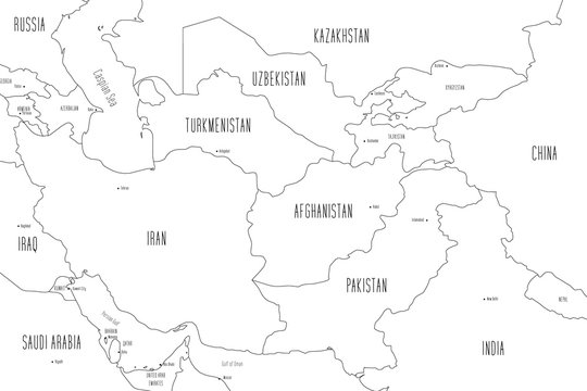 Map of Central Asia. Handdrawn doodle style. Vector illustration