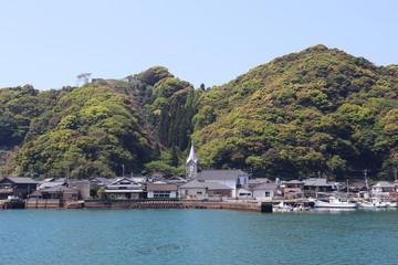 世界遺産 崎津天主堂が見える風景
