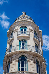 Beautiful architecture or an antique building at Lisbon city center