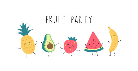 Cartoon funny fruit party with dancing banana, watermelon, pineapple, avocado, strawberries. Vector isolated illustration on a white background.