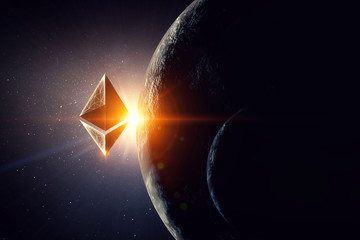 Crypto currency space. 3d rendering