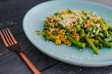 vegan recipes pearl cous cous with green beans corn and mixed veggies