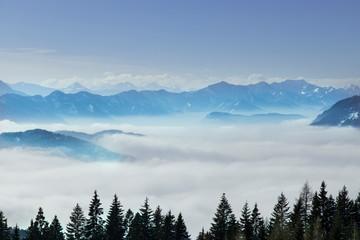 Aluminium Prints Blue sky Landscape background, Mountains and winter