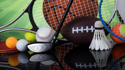 Wall Mural - Sports balls with equipment, Winner background