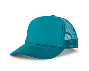 Side View Realistic Cap Mock Up In Scuba Blue Color is a high resolution hat mockup to help you present your designs or brand logo beautifully.
