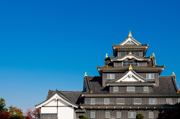 Okayama castle with blue bright sky in autumn. Japan