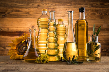 Fototapeta Cooking and food oil products, Extra virgin olive, sunflower seed, rapeseed oil obraz