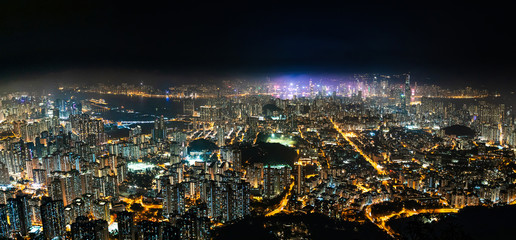 Wall Mural - Famous Urban Night scenic of Kowloon Downtown, Hong Kong