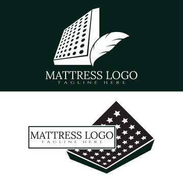 Mattress logo with feathers combination. Furniture and bedding icon, illustration element - Vector