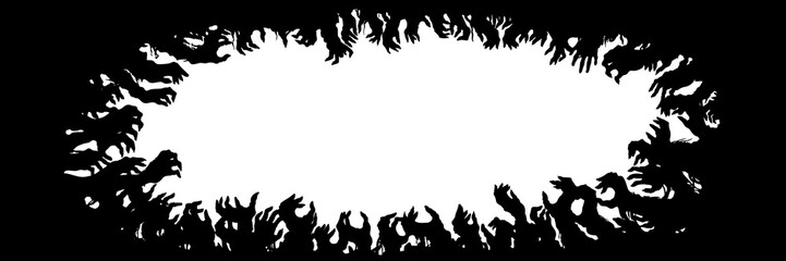 Zombie hands silhouettes frame/ Sinister horizontal black frame with zombie hands