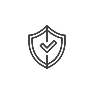 Shield with check mark line icon. linear style sign for mobile concept and web design. Secure Protection outline vector icon. Symbol, logo illustration. Vector graphics